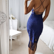 Casual Sexy Deep V Neck Backless Lace Tassels Sling Evening Dresses Bodycon Dress