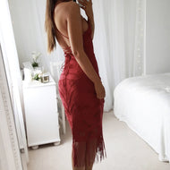 Casual Sexy Deep V Neck Backless Lace Tassels Sling Evening Dresses Red / S Bodycon Dress