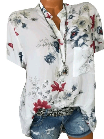 Short Sleeve Loose Floral Pattern Blouse Blouses & Shirts
