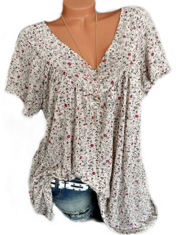 V Neck Loose Floral Printed Blouse Blouses & Shirts