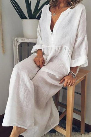 Casual Cotton And Linen V Collar Solid Color Loose Jumpsuit Dresses