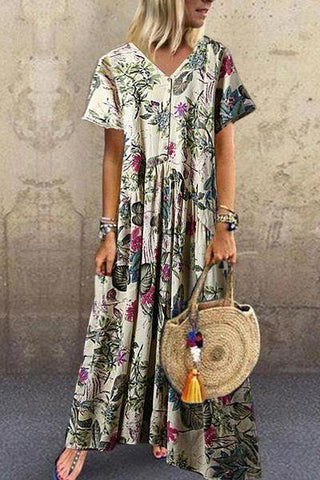[Free] Casual V Neck Short Sleeve Printed Colour Pressure Plait Dress