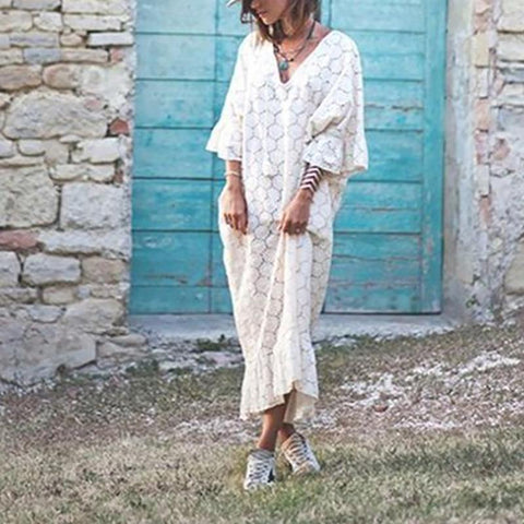 Casual Lace Bell Sleeve Hollow Out Loose Pure Colour Dress White / S Maxi Dresses