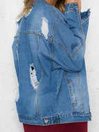 Fashion Blue Denim Coat Outerwear