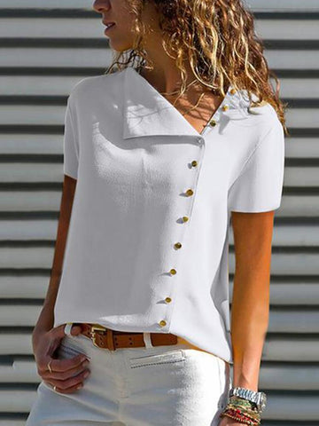 V Neck Single Breasted Plain Blouses Blouse & Shirt
