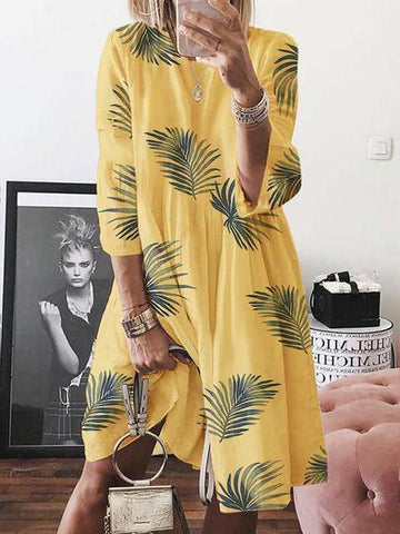 Womens Loose Casual Leaf Print Crew Neck Dress