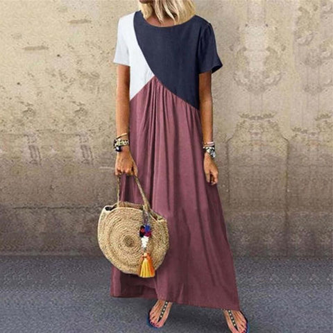 Womens Stitching Color Short-Sleeved Dress Red / S Maxi Dress&casual Dress