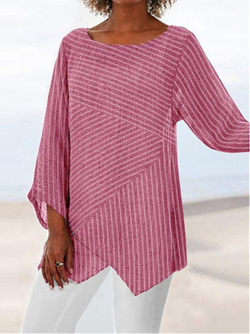 Stitched Striped Round Collar Long Sleeved T-Shirt