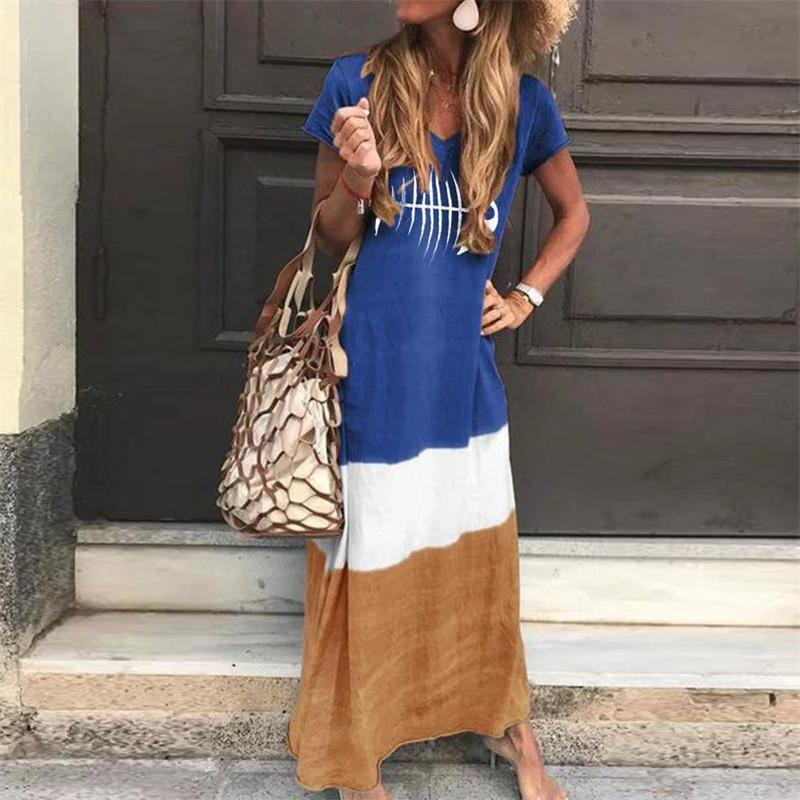 Womens Stitching Short Sleeves Maxi Dresses Blue / S