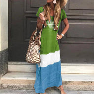 Womens Stitching Short Sleeves Maxi Dresses Green / 3Xl