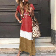 Womens Stitching Short Sleeves Maxi Dresses