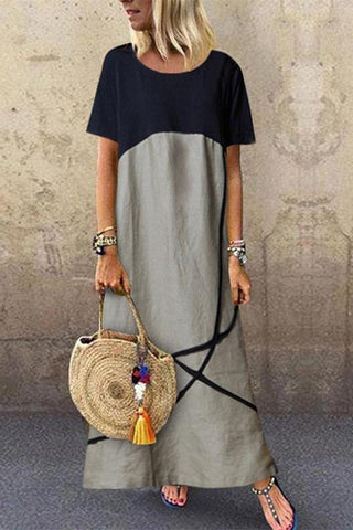 Fashionable Loose Large Size Contrast Color Round Neck Dress