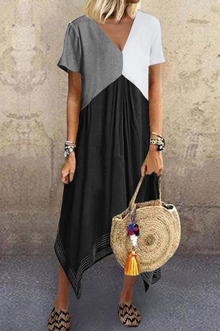 Casual Splicing V Neck Blend Short Sleeve Dress Dresses