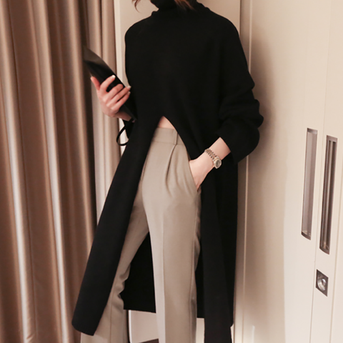 [FREE]  Women's Fashion Pure Color Long Sleeve Slit Sweater Dress