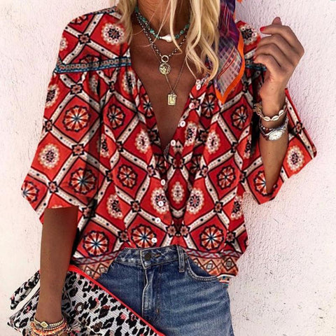 [Free] Bohemian V Neck With Buttons Printed Bracelet Sleeve Shirt
