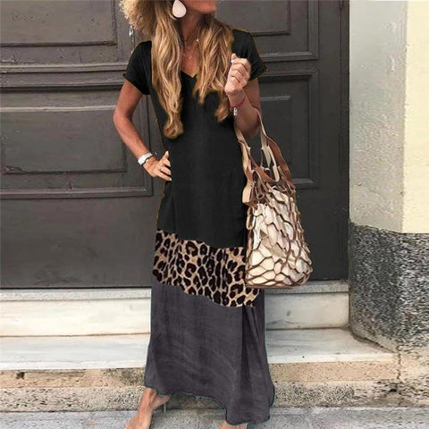 V Neck Short Sleeve Ankle-Length Leopard Print Color Matching Casual Dress Black / Us 0 (Label Size