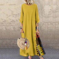Casual Round Neck Button Bracelet Sleeve Splicing Dress Yellow / M Dresses