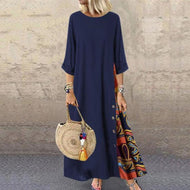 Casual Round Neck Button Bracelet Sleeve Splicing Dress Dark Blue / M Dresses