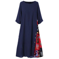 Casual Round Neck Button Bracelet Sleeve Splicing Dress Dresses