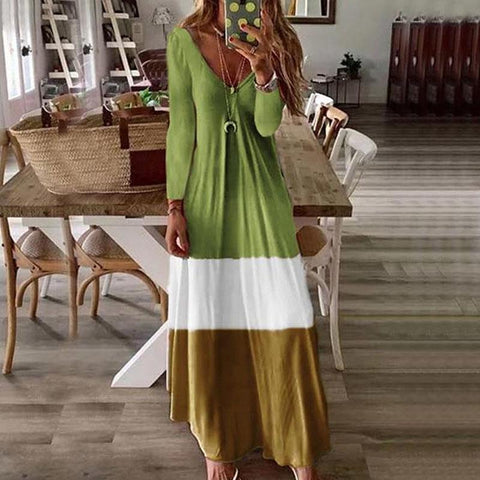 [Free] Casual V-Neck Long-Sleeved Stitching Dress