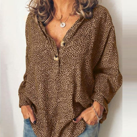 [Free] Fashion Casual V Neck Long Sleeves Leopard Blouse Coffee / S Shirts