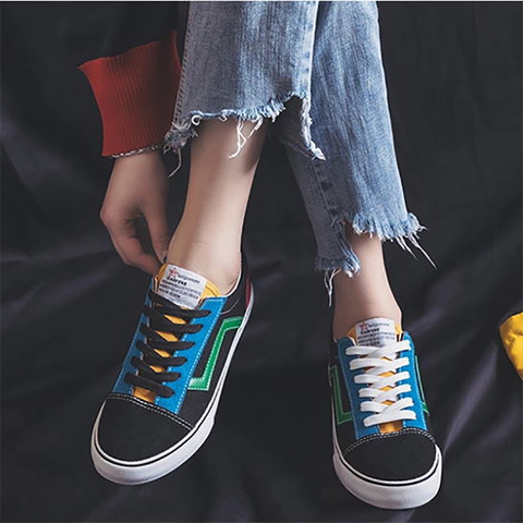 Womens Fashion Casual Trend Color Matching Canvas Sneakers