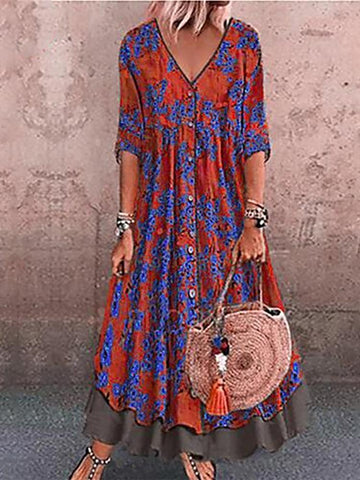 Bohemian V Neck Colour Block Printed Three-Quarter Dress