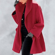 New Warm Fashion Multi-Color Shawl Collar Coat Red / M