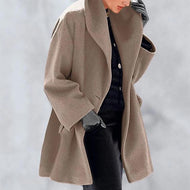 New Warm Fashion Multi-Color Shawl Collar Coat Brown / S