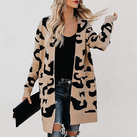 Fashion Womens Leopard Long-Sleeved Cardigan Deep Card / S