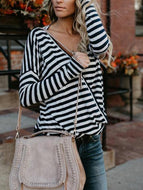 V Neck Long Sleeve Stripes Printed T-Shirts Shirts & Blouses
