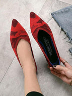 Fashion Pointed Woven Female Flat Shoes Red / 35 & Loafers