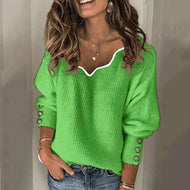 Womens Fashion V-Neck Sweater Green / S
