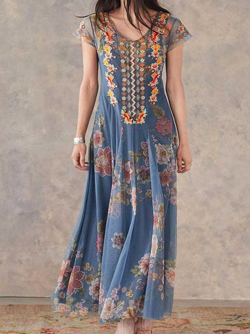 Print Ankle-Length Short Sleeve A-Line Summer Dress