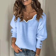 Womens Fashion V-Neck Sweater Blue / S