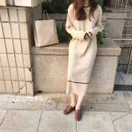 Fashion Simple Loose Long Sleeves Knitted Maxi Dress