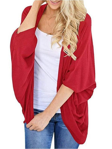 Fashion Early Autumn Pure Color Loose Bat Sleeve Cardigan Red / S