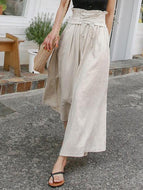Fashion Casual Loose Plain Lace-Up High Waist Vacation Pants Beige / One Size