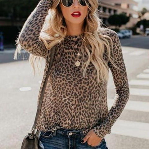 [Free] Fashion Sexy Leopard Print Top With Long Sleeves And Round Collar T-Shirt / S