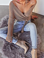 Fashion Elegant Casual Loose Plain Deep V Collar Long Sleeve Crop Sweater Sweaters