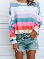 Round Neck Long Sleeve Multi-Color Stripes Printed T-Shirts Shirts & Blouses
