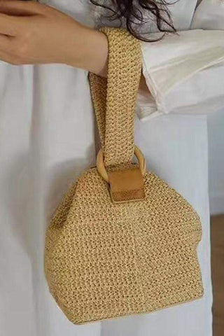 Circle Buckle Cute Braid Basket Hand Straw Square Bag Bag