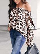 Leopard Printed Off Shoulder Flare Long Sleeve Sexy Blouses White / S Shirts &
