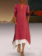Cotton/linen Contrast Color Casual Maxi Dress With Pocket Claret Red / S