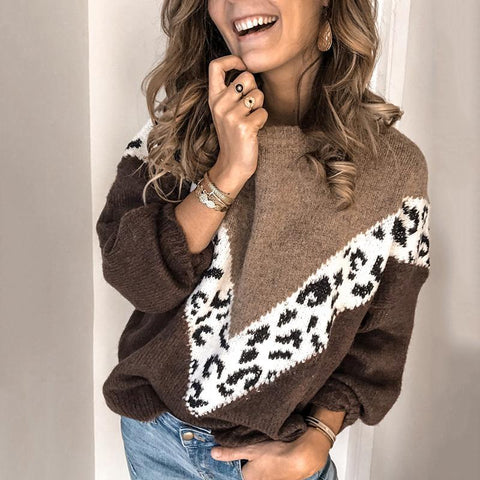Casual Women Loose Color Matching Sweater Brown / S