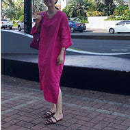 Fashion V Neck Pure Colour Loose Long Dresses Pink / One Size Maxi Dress