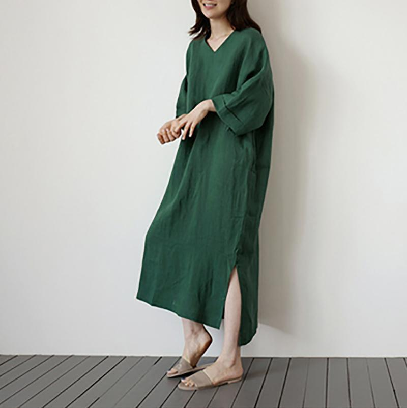 Fashion V Neck Pure Colour Loose Long Dresses Green / One Size Maxi Dress