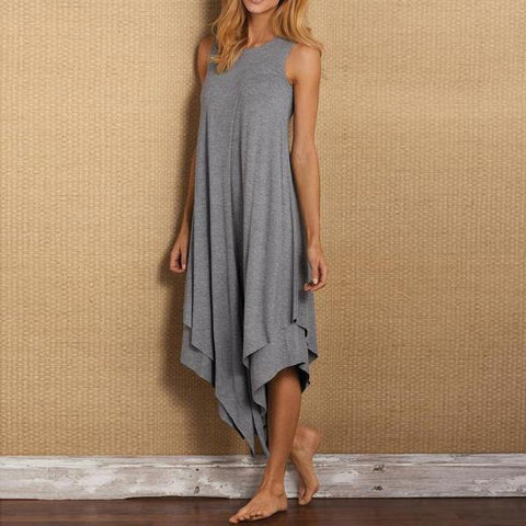 Asymmetrical Women Daily Casual Cotton Sleeveless Summer Midi Dress