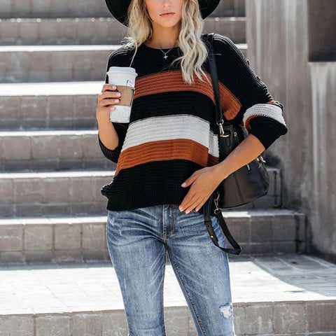 Casual Round Neck Colouring Sweater Orange / S