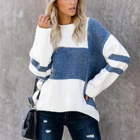 Womens Color Matching Round Neck Sweater